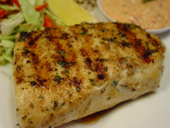 Grilled Fish with Roasted Red Pepper Aioli