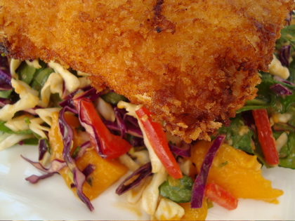Crispy Fish with Mango Slaw