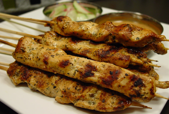 Get the Chicken Satay with Peanut Sauce Recipe!