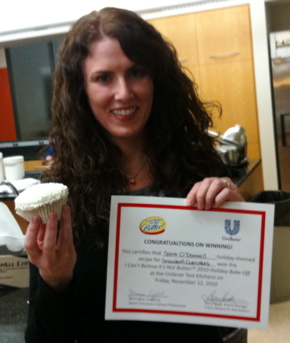 Sara O'Donnell wins the I Can't Believe It's Not Butter! Holiday Bake-Off!