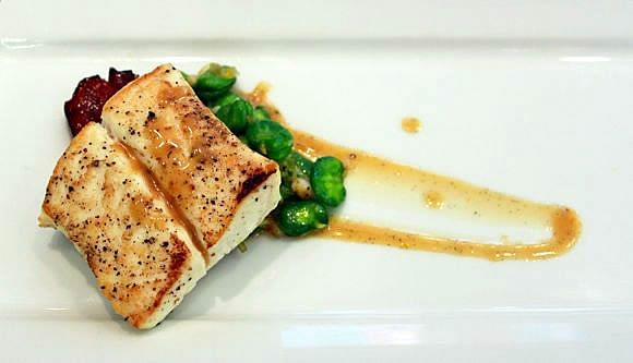 Get the Seared Halibut with Grilled Bacon Steaks Recipe
