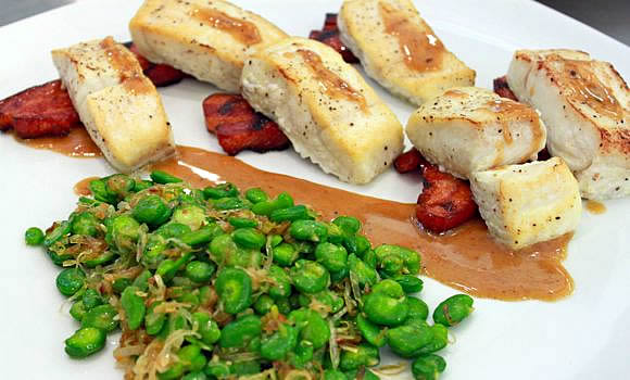 Seared Halibut with Buckwheat Honey Bacon Steaks