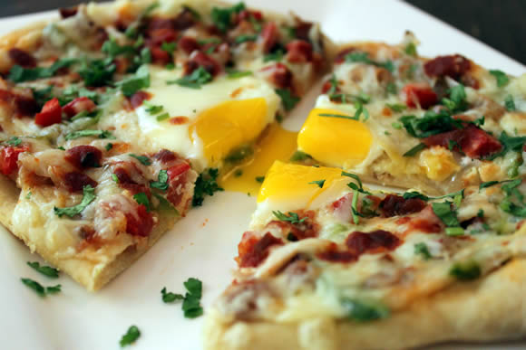 Huevos Rancheros Mashed Potato Pizza