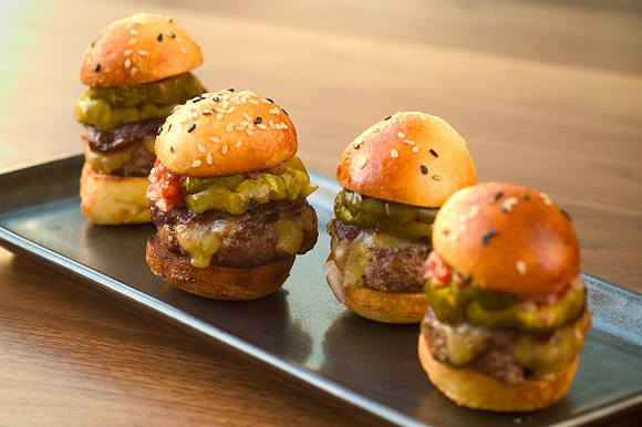 Mini Prime Cheese Burgers with Remoulade and Aged Cheddar