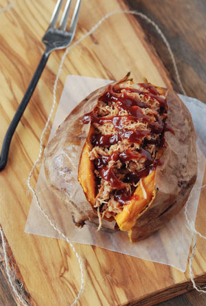 Pulled Pork Stuffed Sweet Potato from Jessica Segarra, The Novice Chef