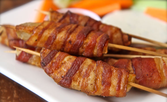 Bacon Wrapped Potato Skewers