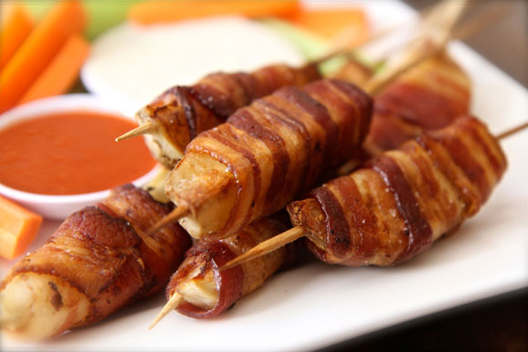 How to Make Bacon Wrapped Potato Skewers