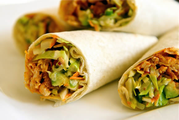 Buffalo Chicken Wraps with Bacon, Avocado and Slaw Recipe