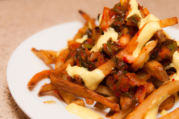 Kimchi Idaho Potato Fries with Curry Kewpie Mayonnaise