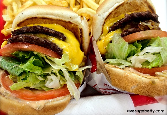 In-N-Out Double Double with Grilled Onions, Extra lettuce and tomato