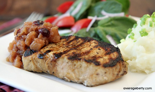 Grilled New York Pork Chops with Apple Cranberry Chutney