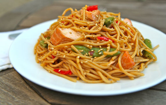 Spicy Hoisin Glazed Salmon Spaghetti Recipe Video