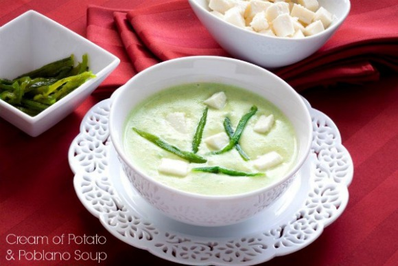 Cream of Potato and Poblano Soup | Bloggers Celebrate Potato Lover's Month