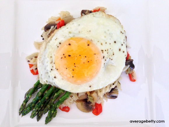 Butter Fried Egg with Asparagus and Lemon Garlic Wild Rice Recipe