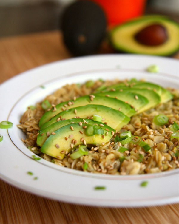 California Avocado Oatmeal with Coconut Milk, Brown Sugar, Soy Sauce, Green Onion, Sesame and Chia Seeds.