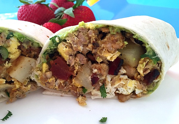 Spicy Pork Tenderloin Bacon and Egg Breakfast Burrito Recipe #Mashup #PORKBEINSPIRED