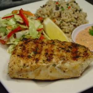 Grilled Fish with Roasted Red Peppper Aioli (recipe)