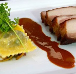 Roy Yamaguchi's Pork Belly with Ravioli in Paprika Sauce Recipe