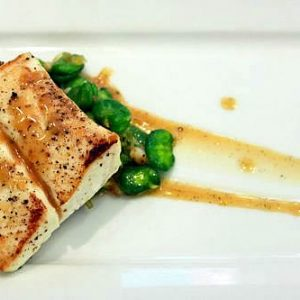 Seared Halibut with Grilled Bacon Steaks Recipe