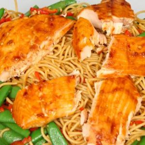 Spicy Hoisin Glazed Salmon Spaghetti Recipe
