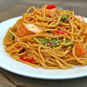 Spicy Hoisin Glazed Salmon Spaghetti Video