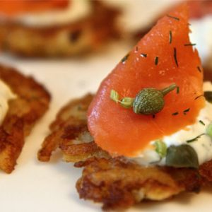 Crispy Potato Galette with Smoked Salmon and Dill Cream Recipe