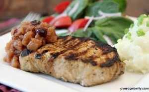 Grilled Orange Soy New York Pork Chops with Apple Ginger Cranberry Chutney - averagebetty.com