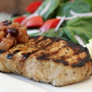 Grilled New York Pork Chops with Apple Cranberry Chutney Recipe