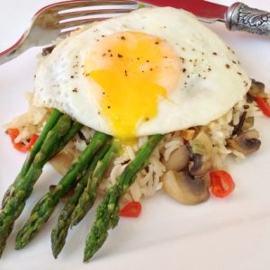 Egg Cooked in Butter with Asparagus and Lemon Garlic Wild Rice