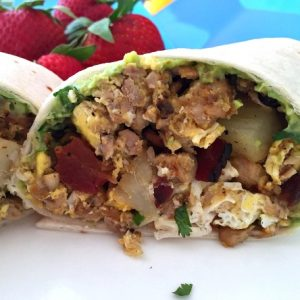 Spicy Pork Tenderloin Bacon and Egg Breakfast Burrito Recipe