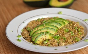 California Avocado Oatmeal with Coconut Milk, Brown Sugar, Soy Sauce, Green Onion, Sesame and Chia Seeds,